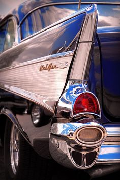 1957 Chevy Bel Air - I remember this car as a kid. The car was fueled from the left fin, just above the taillight. The center chrome piece opened up to the left fof gas.