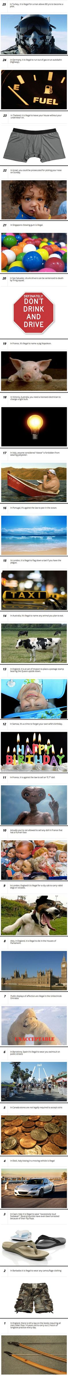 25 strange and bizarre laws you will not believe exist, but actually do.