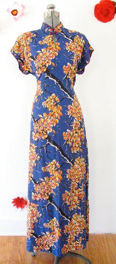 40's Hawaiian Cheongsam Long Rayon Dress, Black Blue Branches Orange Yellow Flower, Sz. M. $150.00, via Etsy.