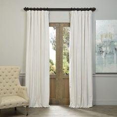 Signature Blackout Velvet Curtain Panel, 84 L x 50 W, Off-White, Beige