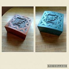 Little carved box redone with Dixie Belle Chalk Mineral paint in Palmetto with Sapphire pearl glaze