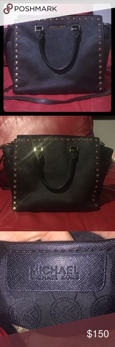 Michael Kors Studded Saviano Leather Selma Purse Lightly used, black studded saffiano leather satchel from Michael Kors. Only used a couple times. Missing one little stud in the bottom left corner but it is barely noticeable. Willing to negotiate! MICHAEL Michael Kors Bags Satchels