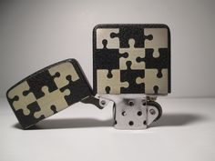 """Zippo """"Puzzle"""", 1941 Replica Black Crackle, custom. Two sides Deep laser engraving."""