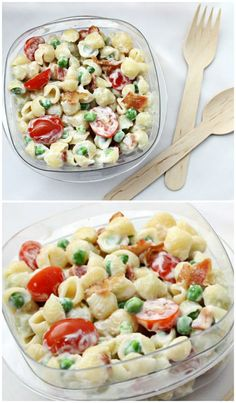 Rock your lunchbox or next party with Pasta Salad with Bacon, Peas, and Tomatoes. Inspired by a BLT sandwich but with green peas and an easy salad dressing. | Culinary Hill