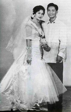 May Imelda Romualdez, future Fist Lady of the Philippines, marries Ferdinand Marcos, future President of the Philippines. Philippines Dress, Philippines Culture, Manila Philippines, Philippines Fashion, Ferdinand, Thrilla In Manila, Barong Tagalog, President Of The Philippines, Filipiniana Dress