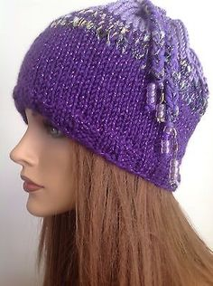 Hand Knit Hat Beanie Beret Cap Designer Fashion Purple Lilac Sparkle Beads Hip
