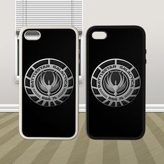 AWESOME Battlestar Battle Star Galactica Galaxy Logo HYBRID iPhone 4 4s Hard Rubber Case Cover COOL !!!