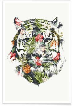 Tropical Tiger als Premium Poster von Róbert Farkas | JUNIQE
