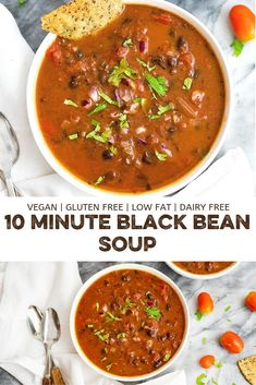 Vegan Black Bean soup is the perfect easy lunch or dinner recipe! Ready in 10 minutes, this healthy recipe is packed with flavor and will fill you up for hours! Naturally low fat and gluten free soup healthy recipes rezepte soup soup Cooking Recipes, Healthy Recipes, Low Fat Vegetarian Recipes, Low Far Recipes, Healthy Black Bean Recipes, Vegan Bean Recipes, Healthy Soup Vegetarian, Veggie Soup Recipes, Low Fat Dinner Recipes
