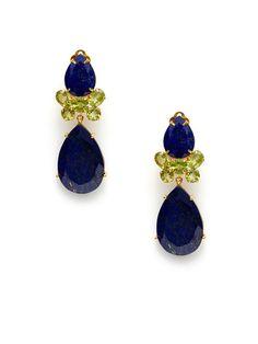 Peridot Cluster & Lapis Double Teardrop Earrings by Bounkit on Gilt.com