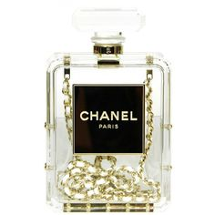 CHANEL Clear Plexiglass 'No. 5' Perfume Bottle Clutch W. Chain Strap... (155 CHF) ❤ liked on Polyvore featuring bags, handbags, clutches, perfume, chanel, accessories, white purse, white leather handbags, hand bags and leather clutches