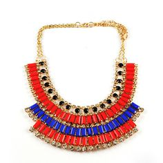 red, blue & gold necklace.