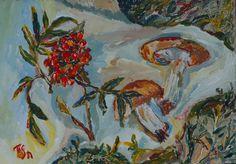 Rowan berries and mushrooms - Tetyana Snezhyk painting