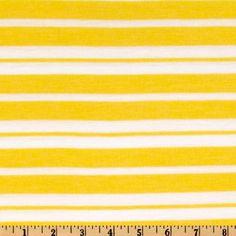 Designer Stretch Rayon Blend Jersey Knit Stripe Yellow