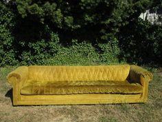 "Vintage Yellow Chesterfield Tufted Sofa 9'8"" long via Craigslist $400."