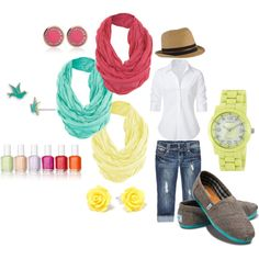 Spring Accessories; colorful scarves, Toms shoes, vibrant watch, fun stud earrings, a classic white shirt, fedora, and nailpolish! (not all at once of course :)