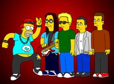Homer with The Offspring | cartoon cross-over | mash-up |