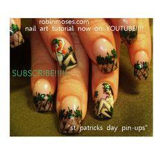 st. patricks day pin-ups by robinmoses - Nail Art Gallery nailartgallery.nailsmag.com by Nails Magazine www.nailsmag.com #nailart