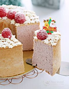 This raspberry chiffon cake is soft, light, and the taste is perfect; a little citrusy and refreshing. Looks pretty with white chocolate stars on top.