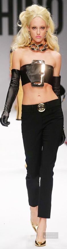 This belt bikini as well is too cute!!! Moschino Spring 2015  The look together is kinda goth though.
