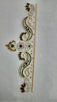 Burgundy and emerald green combination with gold thread work Pearl Embroidery, Hand Embroidery Dress, Tambour Embroidery, Couture Embroidery, Embroidery Works, Embroidery Fashion, Beaded Embroidery, Border Embroidery Designs, Kurti Embroidery Design