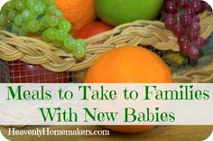 Meals to Take to Families With New Babies, including great thoughts on how to love on older siblings who are adjusting to baby
