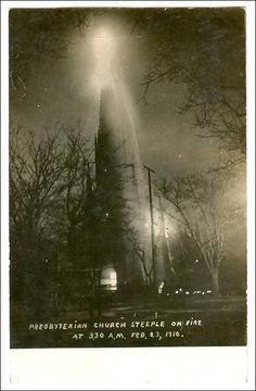 RP; Presbyterian Church Steeple on fire, Columbia, South Carolina, PU-1910