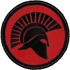 "Retro Red and Black Spartan Helmet Silhouette 2012 Patrol Patch - 2"" Round"