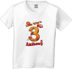 Happy Birthday Firetruck BIG number Tshirt by CustomTeesForTots, $15.00