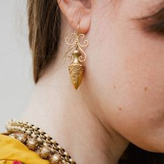 Victorian + Etruscan Revival 14k gold urn-shaped earrings on MaisonRay.com