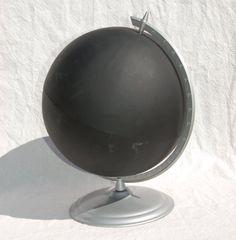 Silver Chalkboard Globe by slateandsage on Etsy