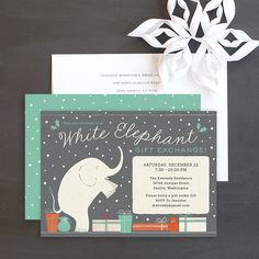 White Elephant Holiday Party Invitatons by Elli