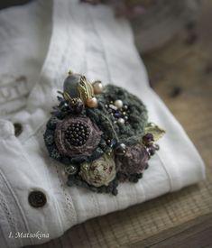 Купить Брошь Magnоlia grandiflоra - зеленый, фиолетовый, сиреневый, брошь, брошь ручной работы