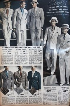 1937 Men's White and Grey Summer Suits at VintageDancer.com