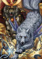 Wolf Warriors by SheltieWolf on DeviantArt Anime Wolf, Wolf Spirit, Spirit Animal, Fantasy Wolf, Fantasy Art, Magical Creatures, Fantasy Creatures, Werewolf Vs Vampire, Ying Y Yang