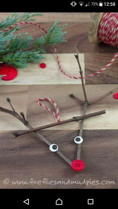 Twig Reindeer Ornaments Just in time for Christmas, learn how to make a DIY wooden popsicle stick sled ornament with craft sticks, glue, and paint. This simple holiday craft for kids is perfect for home or school! Christmas Decorations For Kids, Christmas Crafts For Kids To Make, Preschool Christmas, Noel Christmas, Christmas Activities, Holiday Crafts, Christmas Garden, Indoor Activities, Summer Activities