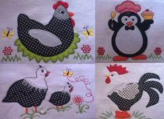 panos de prato em patchwork bordado com barrado 05 peças