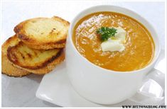 Pumpkin soup is a perennial favourite but it can become a little boring. This spicy version will help jazz up meal times. Spicy Pumpkin Soup, Butternut Soup, Soup Recipes, Cooking Recipes, Biltong, Fresh Cream, Cottage Cheese, Tart, Meals