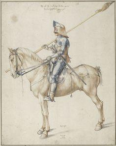 Albrecht Dürer, Soldier on horseback, 1498, Albertina, Vienna (pen and brown ink, watercolour)
