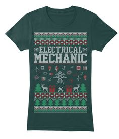Electrical Mechanic Ugly Christmas Shirt Forest Women's T-Shirt Front