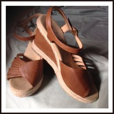 """LISTING  PERFECT FOR THE SUMMER  Tan 3"""" heel leather top and hemp around the sole. An absolute staple for summer. Worn 3times. Ankle strap. Size 61/2.  Forever Shoes Sandals"""