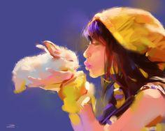 "Cute image, girl, watercolor / Immagine dolce, ragazza, acquarello - Art by zhuzhu on deviantART, ""Copy from widjitas BunnyLover"""