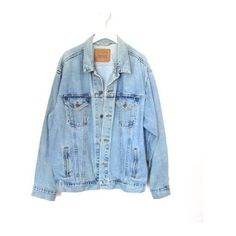 90's Grunge Levi's Denim Jacket size XL ❤ liked on Polyvore featuring outerwear, jackets, long sleeve jacket, vintage denim jacket, blue jean jacket, grunge jacket and vintage jackets