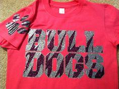 Bulldogs spirit tee! Purple and silver glitter zebra striped! With zebra dog paw