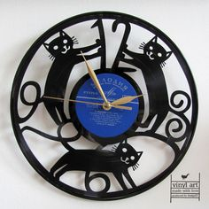 Kočičky: hodiny vyřezané z vinylové desky / Zboží prodejce vinyl art | Fler.cz