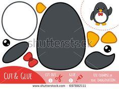 Education paper game for children, Penguin. Use scissors and glue to create the image - bu stok vektör öğesini Shutterstock üzerinden satın alın ve başka görseller bulun.