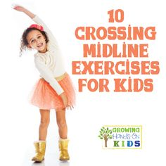Crossing Midline Exercises For Kids What is crossing midline? Plus get 10 great crossing midline exercises for kids.What is crossing midline? Plus get 10 great crossing midline exercises for kids. Occupational Therapy Activities, Pediatric Occupational Therapy, Pediatric Ot, Physical Activities, Movement Activities, Brain Gym For Kids, Yoga For Kids, Exercise For Kids, Physical Development