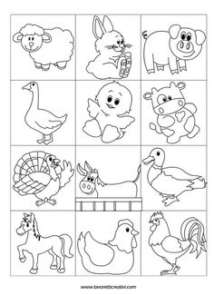 contrassegni-animali-fattoria2 Animal Coloring Pages, Colouring Pages, Coloring Sheets, Coloring Books, Drawing For Kids, Line Drawing, Farm Theme, Stuffed Animal Patterns, Animal Drawings