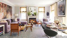 """combinacion de colores! En la ciudad de Nueva York salón de Royce Pinkwater, ella y diseñador Eric Cohler eligió suaves colores suaves y líneas limpias y nítidas, sin mucho alboroto y estratificación.  """"Siento felicidad tan pronto como entro en mi vestíbulo Siento que cuando entro a la sala de estar -. Tan fresco y tranquilo y la luz"""", dice ella."""