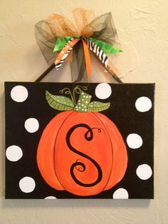 Good Totally Free Halloween or Fall custom pumpkin canvas Ideas Pumpkins tend to be beautiful circular, bright lemon, and in autumn they must not be missing especia Pumpkin Canvas Painting, Autumn Painting, Autumn Art, Fall Paintings, Painting Holidays, Tole Painting, Halloween Painting, Halloween Crafts, Halloween Decorations